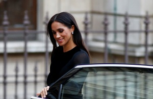 Britain's Meghan, the Duchess of Sussex, arrives at the opening of 'Oceania' at the Royal Academy of Arts in London