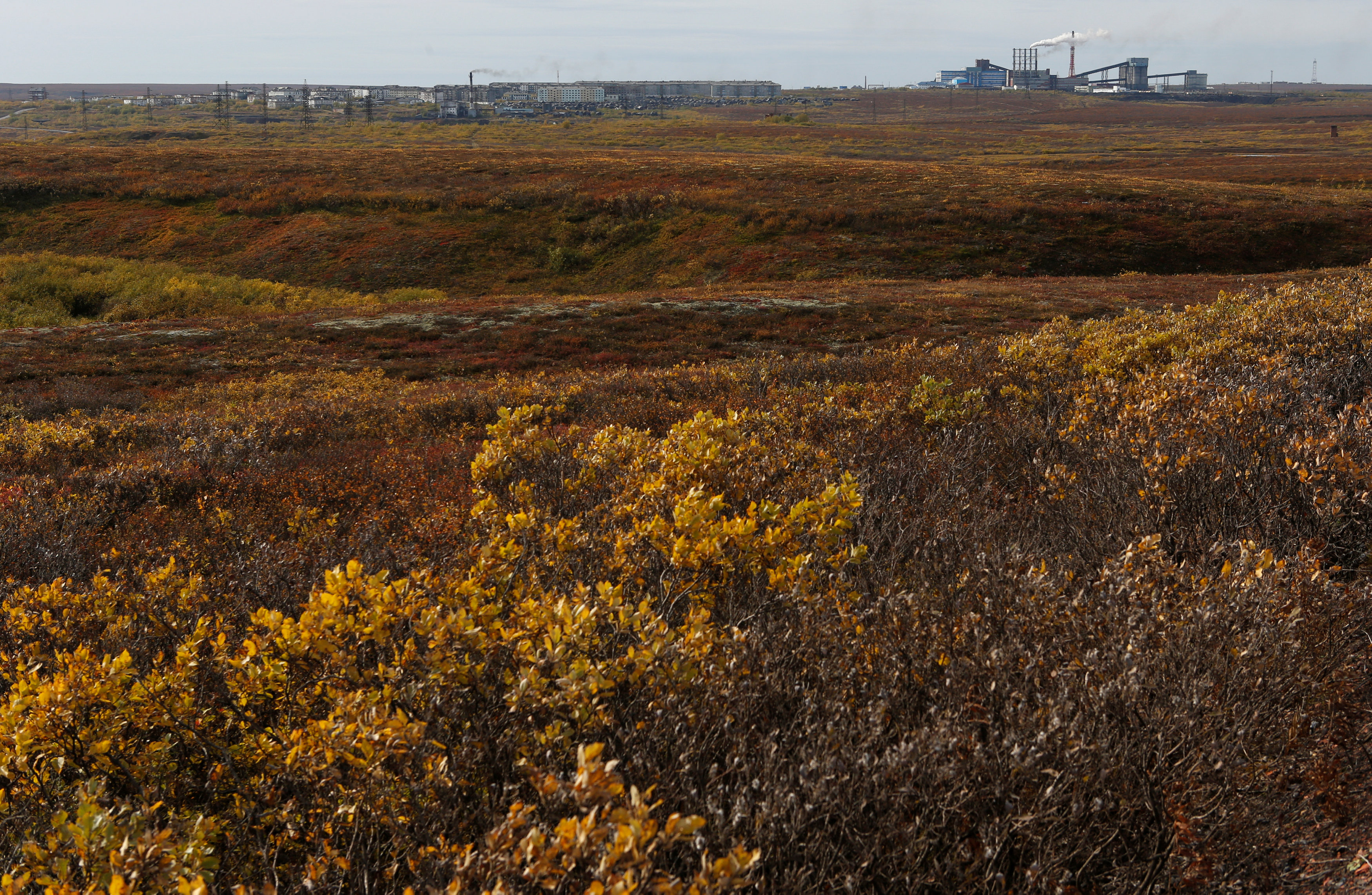 A view shows the Tundra area near the Pechorskaya central processing factory under the Vorkutaugol company in Zapolyarny settlement outside the far northern city of Vorkuta