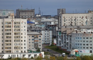 A general view shows the far northern city of Vorkuta