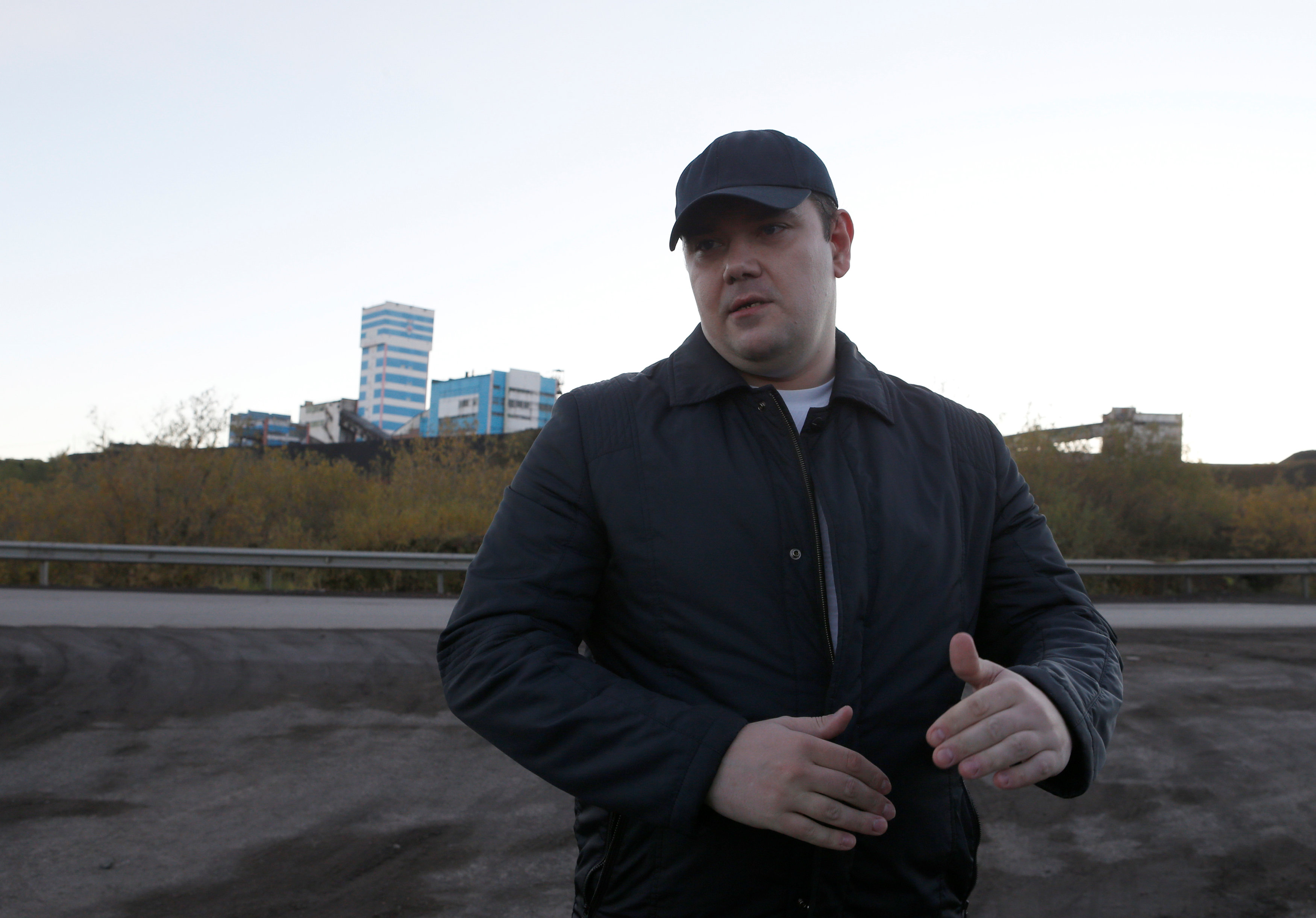 he security guard and former coal miner Alexander Golyanchuk speaks during an interview near Vorkutinskaya mine outside the far northern city of Vorkuta