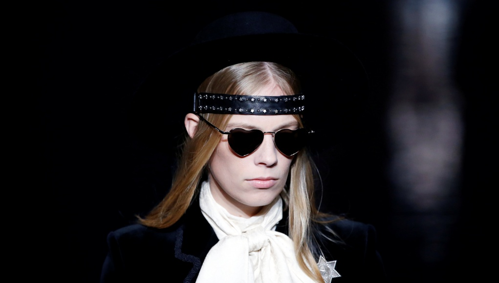 A model presents a creation by designer Anthony Vaccarello as part of his Spring/Summer 2019 women's ready-to-wear collection show for fashion house Saint Laurent during Paris Fashion Week in Paris