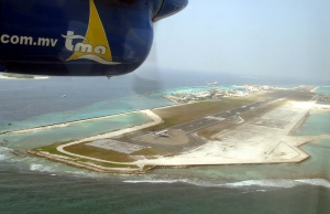 An aerial picture of the airport in Maldives.
