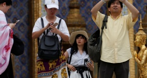 Chinese tourists visit the Temple of the Emerald Buddha in Bangkok
