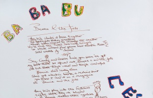 "Songwriter Bernie Taupin's ""Bennie and the Jets"" lyrics image included in the upcoming auction event to celebrate the 50th anniversary of Bernie Taupin's writing partnership with pop culture icon Sir Elton John"
