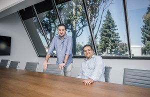 Aeva Inc. co-founders Soroush Salehian and Mina Rezk at the start-up company's headquarters in Mountain View, California
