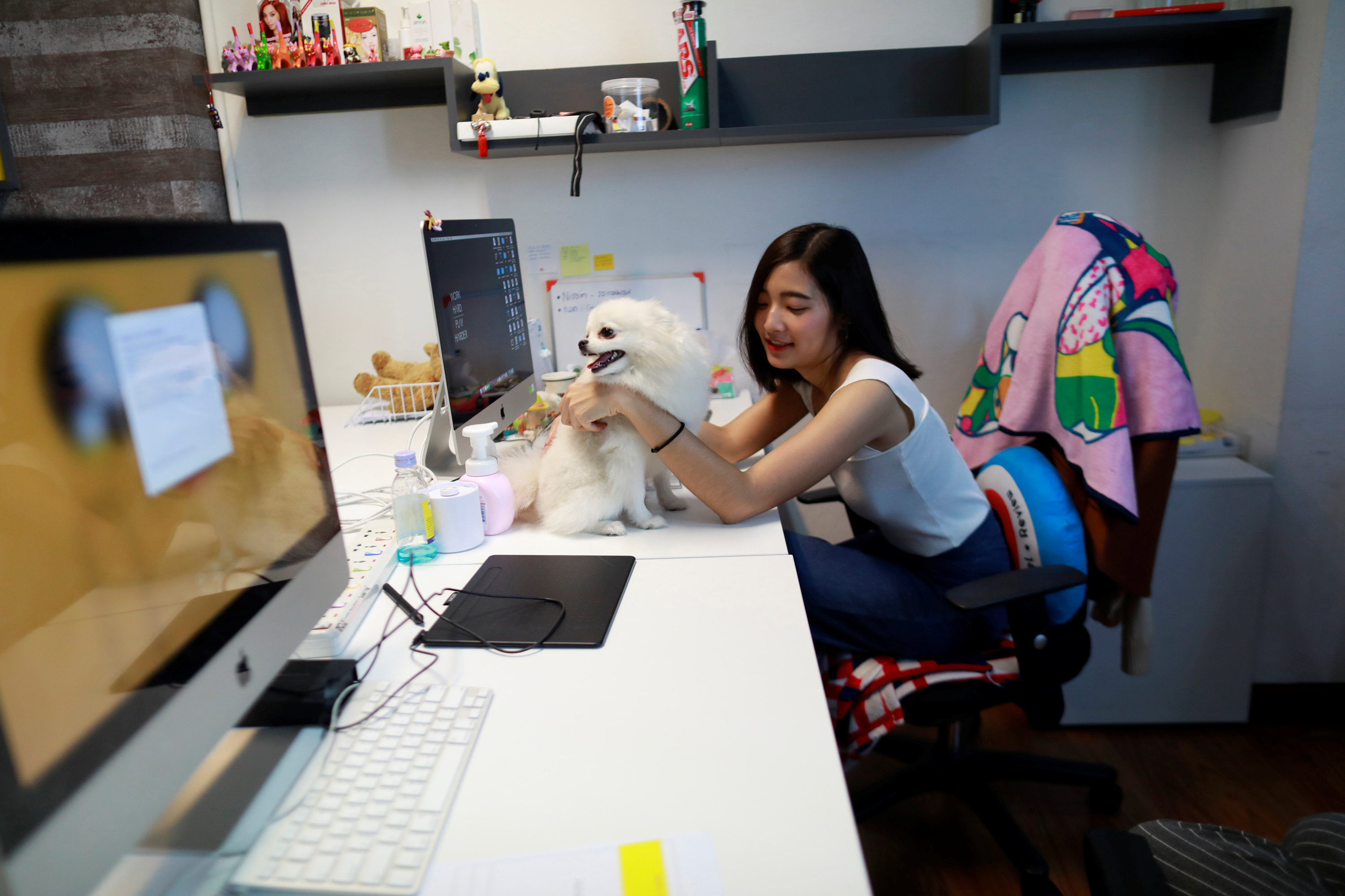 Ploy plays with a dog as she works in an office of a digital advertising agency which promotes bring-your-dog-to-work in Bangkok