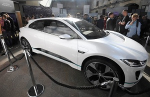 Jaguar Land Rover's I-PACE concept car is seen on display ahead of it's 2018 production launch as Jaguar's first fully electric SUV at their 'Tech Fest' in London