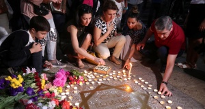 People mourn the death of singer Charles Aznavour in Yerevan