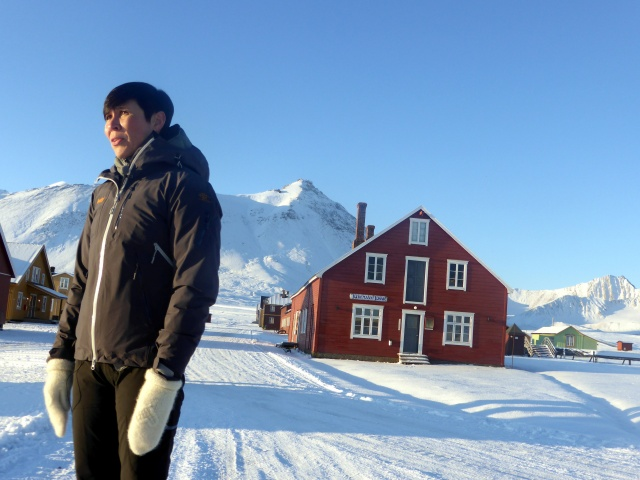 Norwegian Foreign Minister Ine Eriksen Soreide looks on at the scientific research station in the NY-Aalesund on the Svalbard archipelago