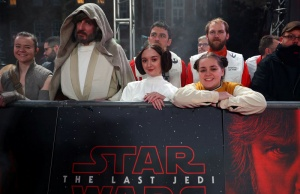 People dressed in costume wait for arrivals at the European Premiere of 'Star Wars: The Last Jedi', at the Royal Albert Hall in central London