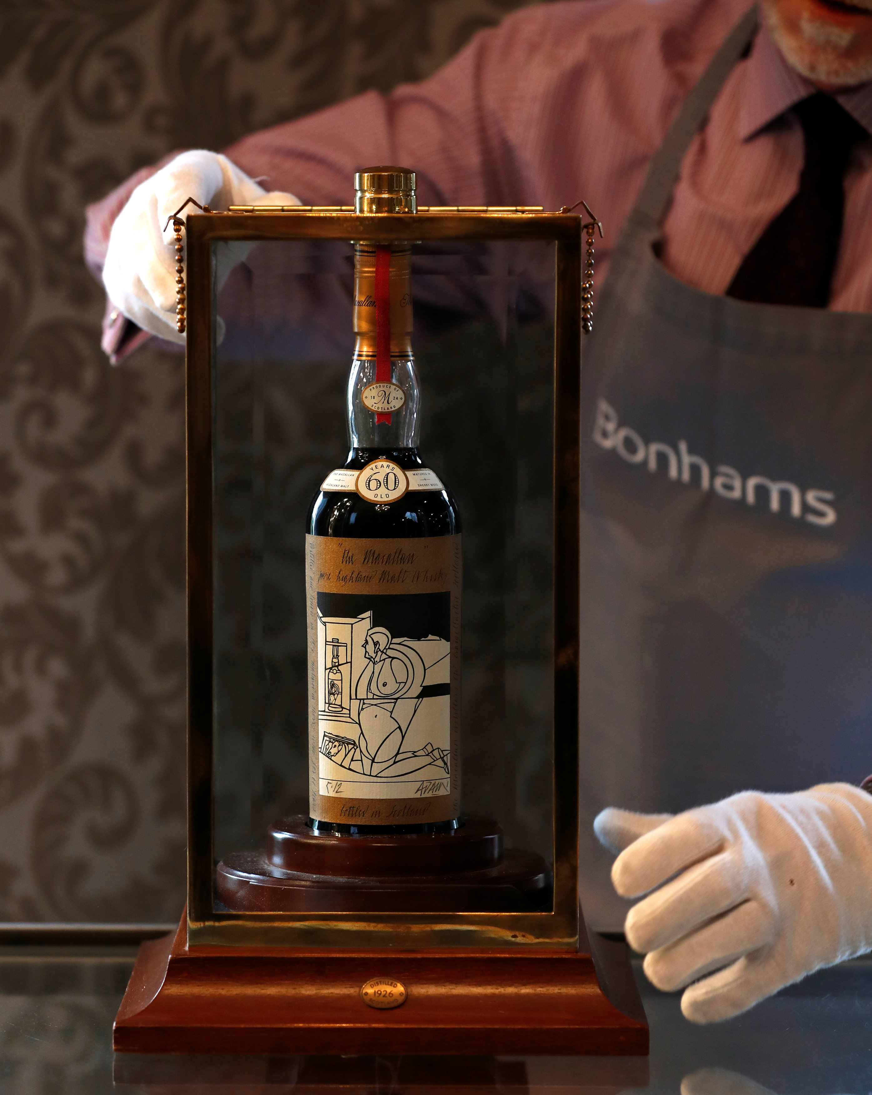 A 60-year old The Macallan Valerio Adami 1926 was auctioned for a record amount at Bonhams in Edinburgh, Scotland