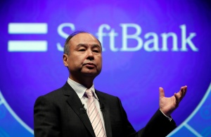 SoftBank Group Corp Chairman and CEO Masayoshi Son speaks during their joint news conference with Toyota Motor Corp President Akio Toyoda in Tokyo