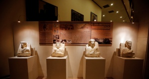 Restored sculptures are displayed in an exhibition, at the Opera house in Damascus