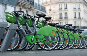 New Velib' Metropole self-service public bikes by the Smovengo are seen at a distribution point in Paris