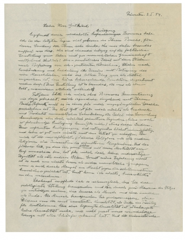 An autographed letter signed by Albert Einstein (