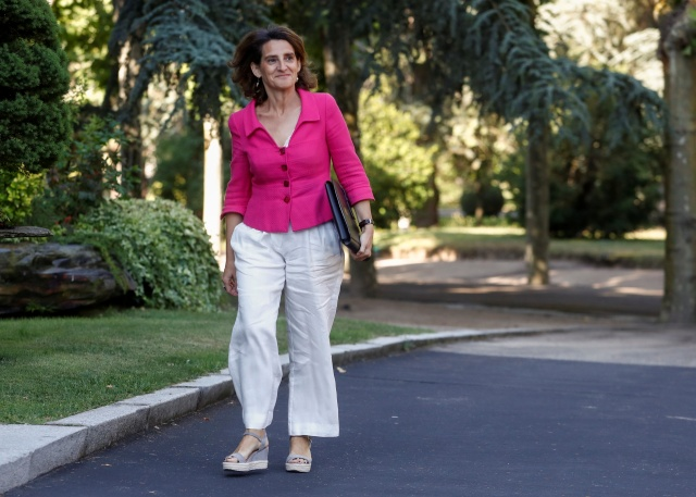 Spain's Energy and Environment Minister Teresa Ribera arrives for a cabinet meeting at the Moncloa Palace in Madrid