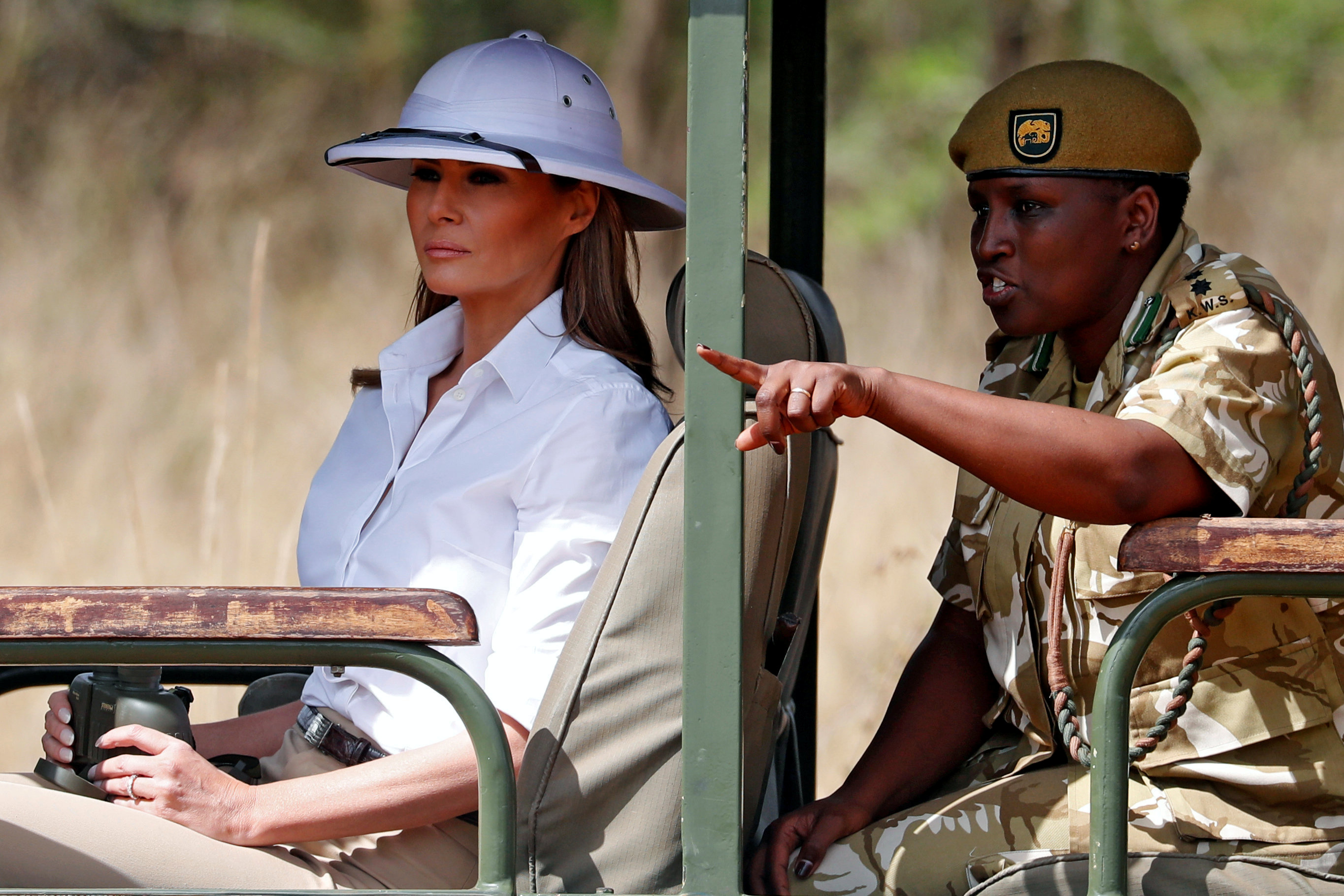 U.S. first lady Melania Trump takes a safari in Nairobi