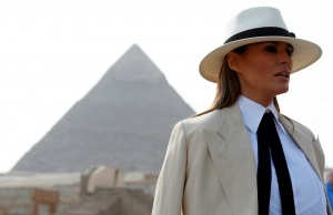 U.S. first lady Melania Trump visits the Pyramids in Cairo
