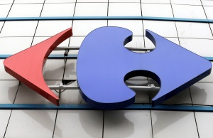 A Carrefour logo is seen on a Carrefour Hypermarket store in Montreuil, near Paris