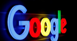 An illuminated Google logo is seen in Zurich
