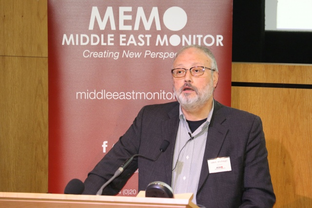 Saudi dissident Jamal Khashoggi speaks at an event hosted by Middle East Monitor in London