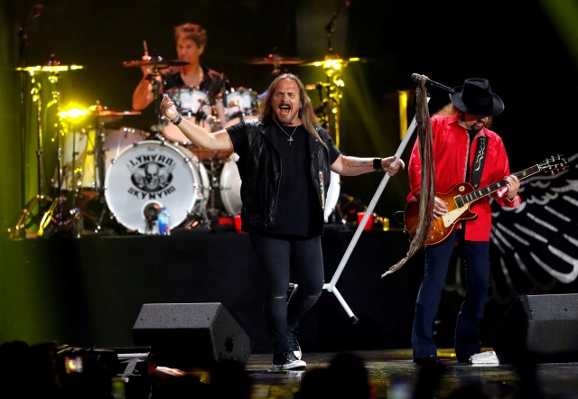 Lynyrd Skynyrd lead vocalist Johnny Van Zant and Gary Rossington perform during the iHeartRadio Music Festival at T-Mobile Arena in Las Vegas