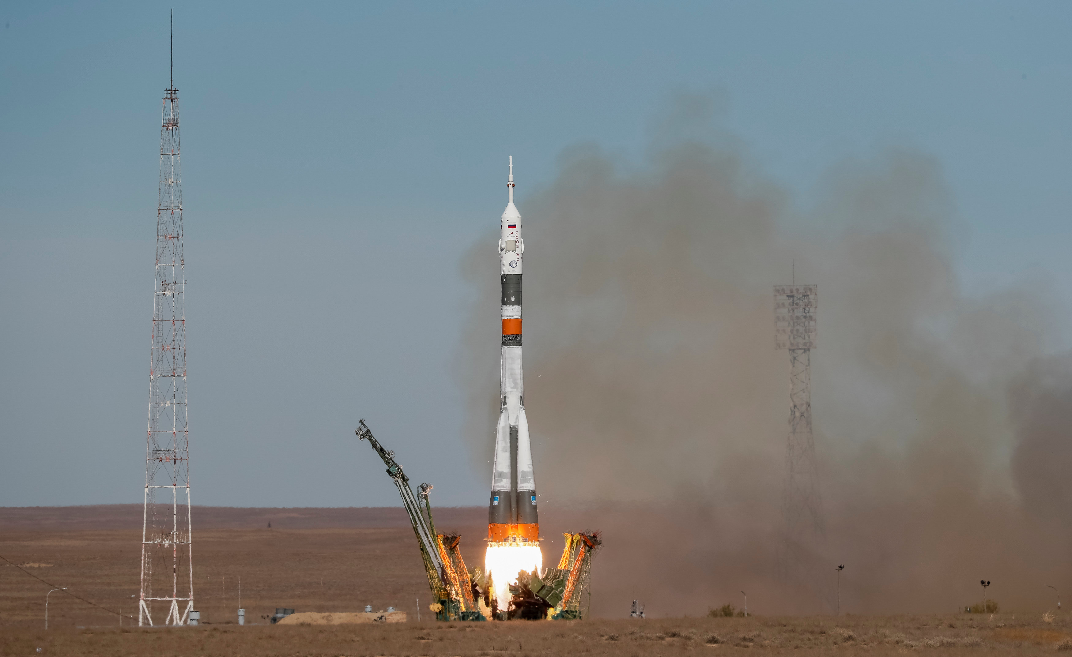 The Soyuz MS-10 spacecraft carrying the crew of astronaut Nick Hague of the U.S. and cosmonaut Alexey Ovchinin of Russia blasts off to the International Space Station (ISS) from the launchpad at the Baikonur Cosmodrome