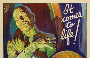 "An original 1932 lithographic film poster designed by Karoly Grosz, for the movie ""The Mummy"