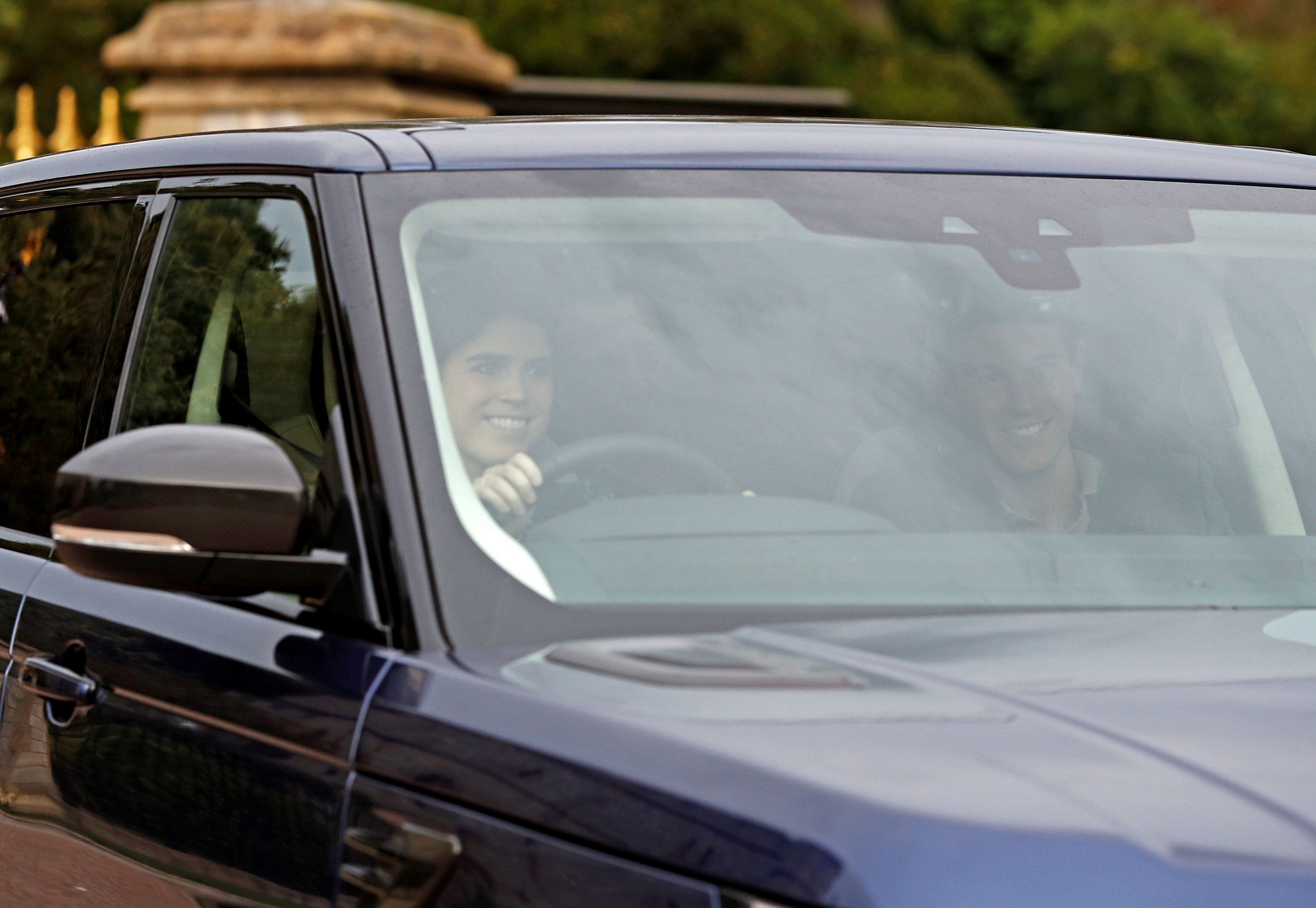 Britain's Princess Eugenie and Jack Brooksbank leave Windsor Castle a day ahead of their wedding in Windsor