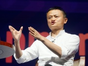 Alibaba Group co-founder and Executive Chairman Jack Ma gestures during a seminar at the International Monetary Fund - World Bank Annual Meeting 2018 in Nusa Dua