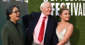 """Director Park Chan-wook, author John le Carre and actor Florence Pugh arrive at the world premiere of """"The Little Drummer Girl"""" during the London Film Festival, in London"""