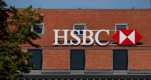 A logo is pictured on HSBC bank in Geneva