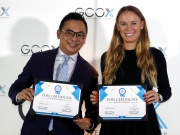 Tennis player Caroline Wozniacki attends a signing ceremony with CEO of GCOX Global Crypto Offering Exchange, Jeffrey Lin, to launch her own cryptocurrency in Singapore