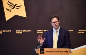 Formal Liberal Democrat leader Nick Clegg speaks at a campaign event in London