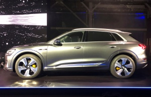 Audi's e-tron sport utility vehicle at a launch event in California