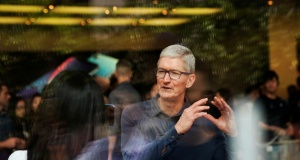 Apple CEO Tim Cook attends an Apple store in Shanghai