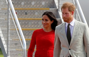 Britain's Prince Harry and Meghan, Duchess of Sussex, in Tonga
