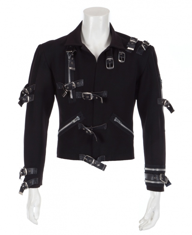 A black synthetic-blend jacket Michael Jackson wore on his 1989 Bad World Tour is pictured in this photo provided by Julien's Auctions