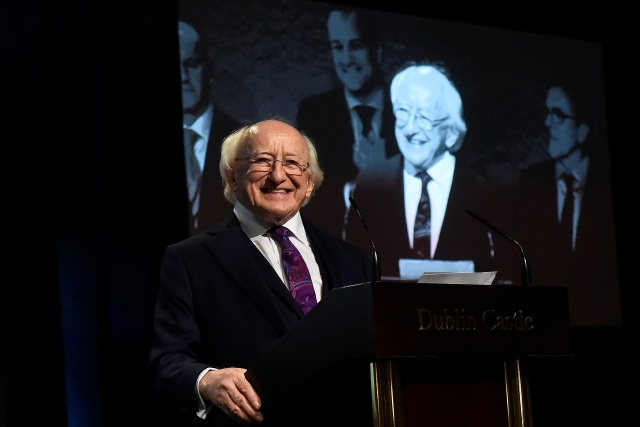 Ireland's President Michael D. Higgins makes his acceptance speech on stage as he is declared elected during the announcement of the results of the Irish presidential elections in Dublin