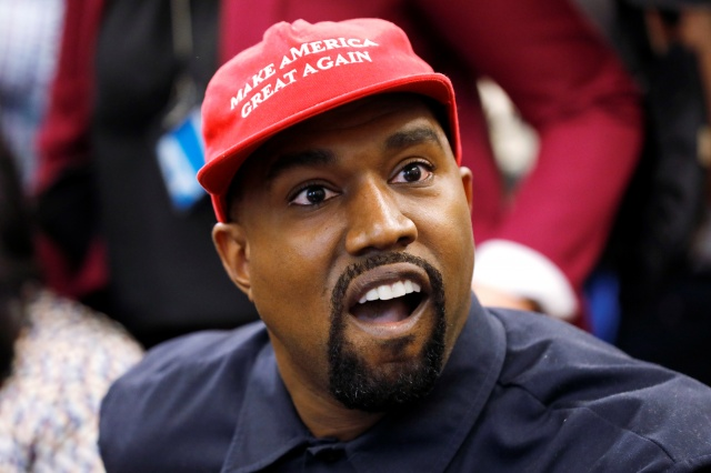 apper Kanye West speaks during a meeting with President Trump in the Oval Office at the White House in Washington