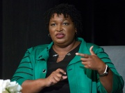 Oprah Winfrey takes part in a town hall meeting with Stacey Abrams in Marietta