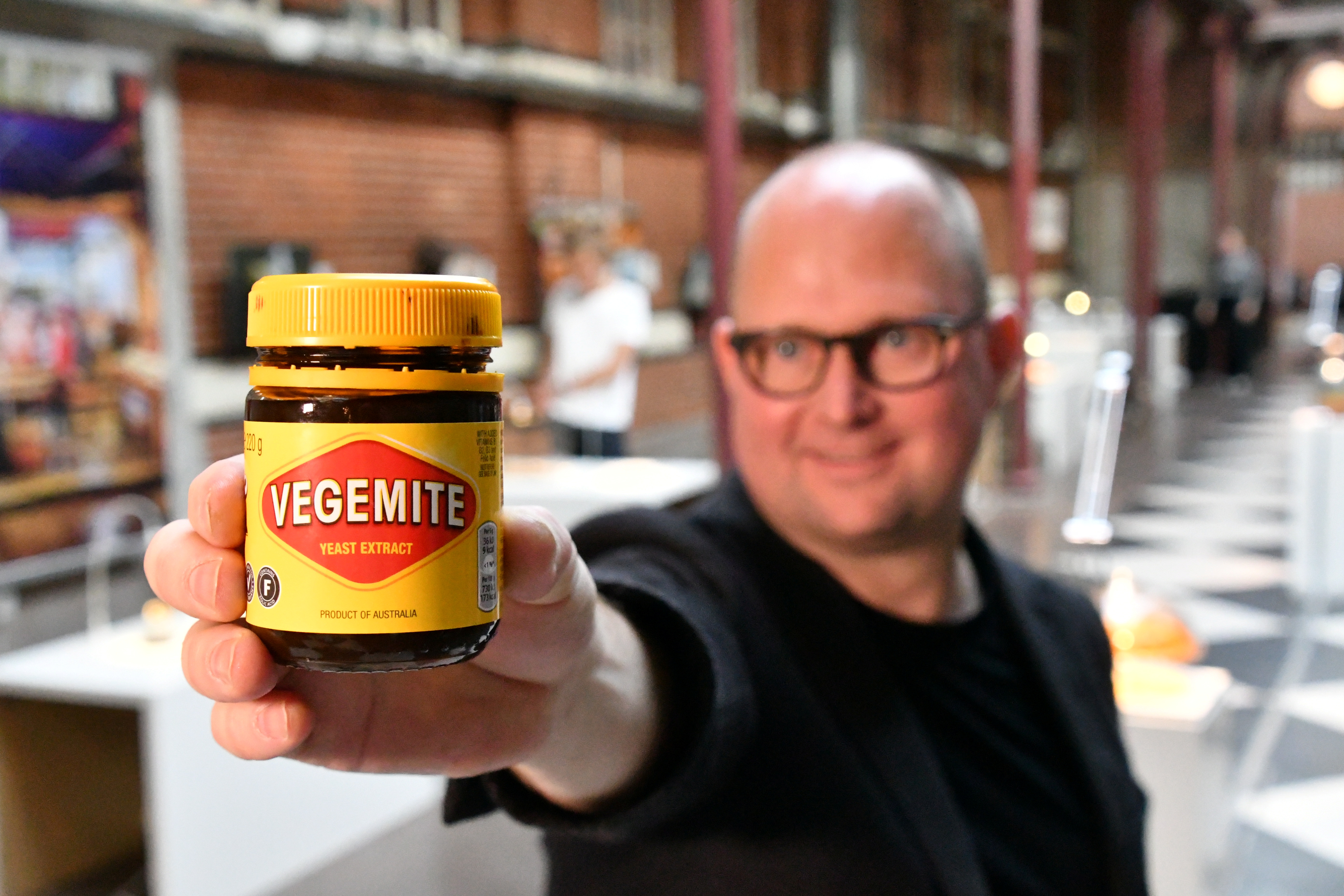 Disgusting Food Museum curator Samuel West shows Australian Vegemite in Malmo