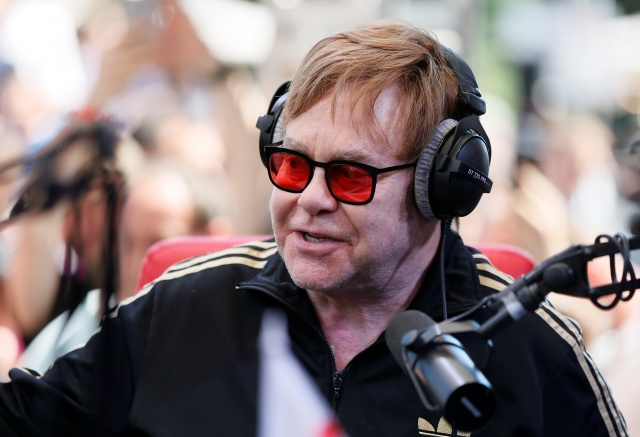 British musician Elton John attends a charity event to support innovative HIV prevention and to raise awareness about AIDS in Kiev