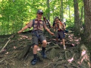 Cub scout girls who are on their way to becoming the first female Scouts in the Boy Scouts of America participate in a hike in McLean, Virginia