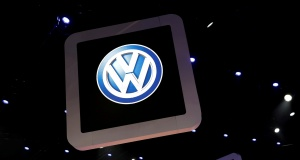 Volkswagen logos are pictured during the media day of the Salao do Automovel International Auto Show in Sao Paulo
