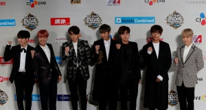 Members of South Korean K-pop band BTS pose during Mnet Asian Music Awards in Hong Kong
