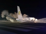 The site of a Fly Jamaica plane crash is seen in the Cheddi Jagan International Airport