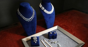 "Jewelry once owned by Marie Antoinette displayed during press preview ahead of auction ""Royal jewels from the Bourbon Parma Family"" at Sotheby's in New York"