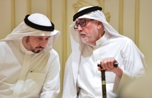 Sahel and Wajdi Khashoggi, brothers of Saudi journalist Jamal Khashoggi, speak during the condolences in Jeddah