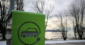An electric car charging station is seen in Vancouver
